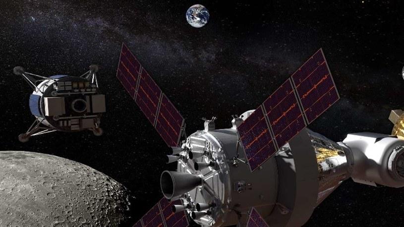 Wizja artystyczna statku Gateway na orbicie Księżyca /NASA