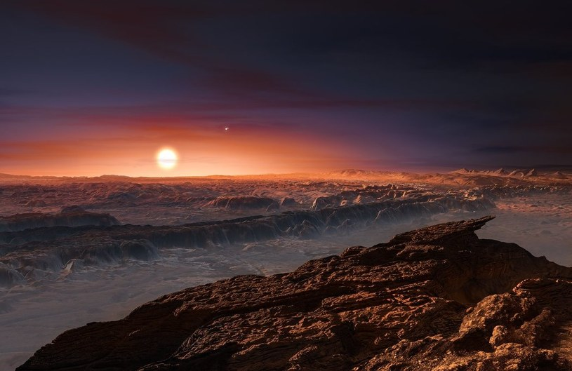 Wizja artystyczna widoku z Proximy b na Proximę Centauri - w tle dwie gwiazdy układu Alfa Centauri /materiały prasowe