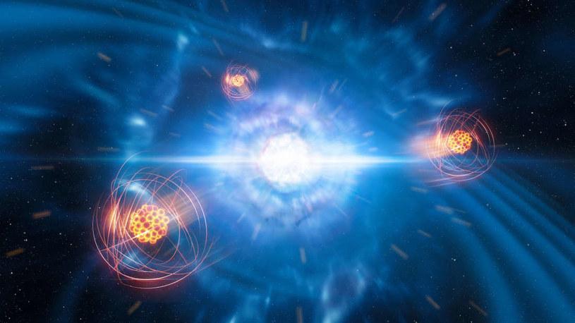 Wizja artystyczna wyrzutu strontu podczas kolizji gwiazd neutronowych /materiały prasowe