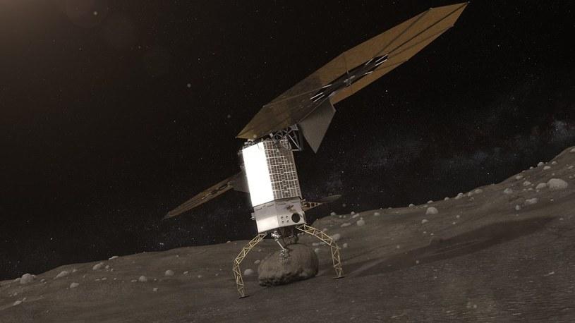 Wizja fazy bezzałogowej misji - sonda przechwyca głaz z powierzchni planetoidy. /NASA