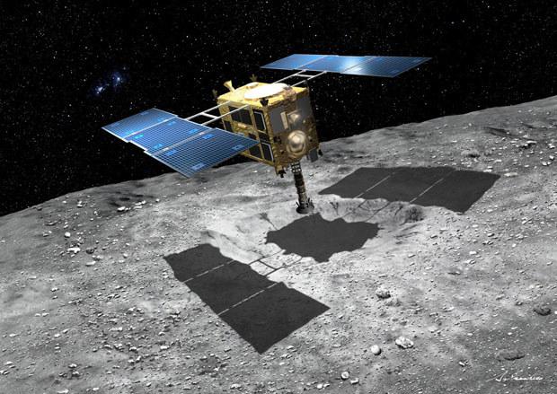 Wizja sondy Hayabusa 2 na asteroidzie. /materiały prasowe