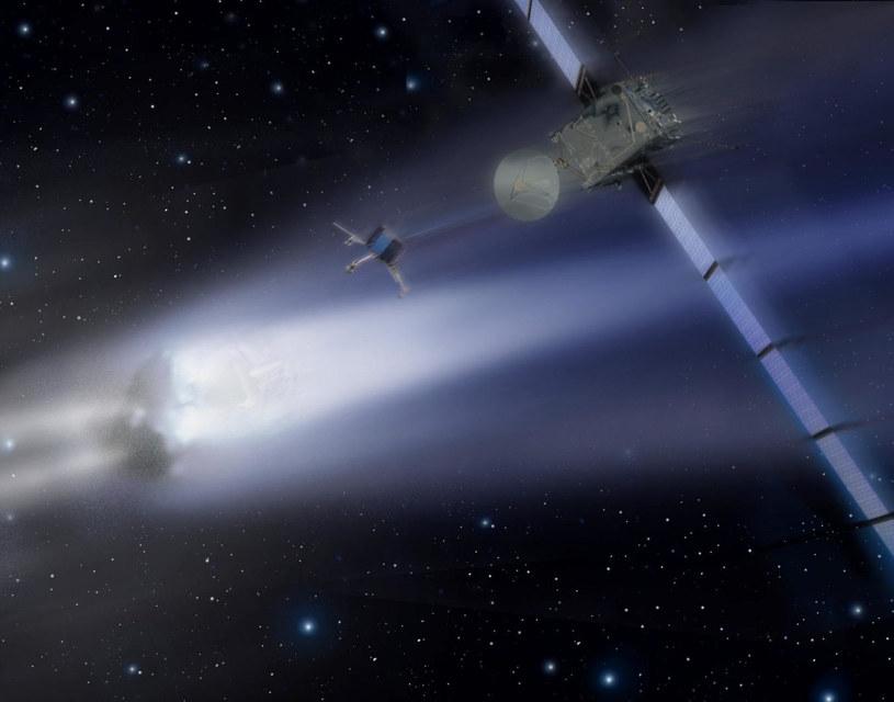 Wizja sondy Rosetta zbliżającej się do komety /materiały prasowe