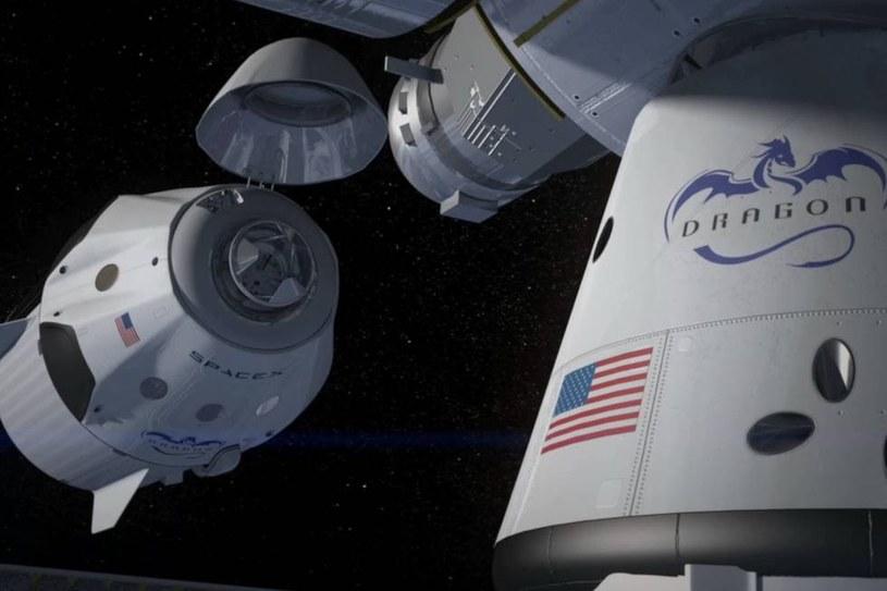 Wizualizacja dokowania Dragona do międzynarodowej stacji kosmicznej. /materiały prasowe