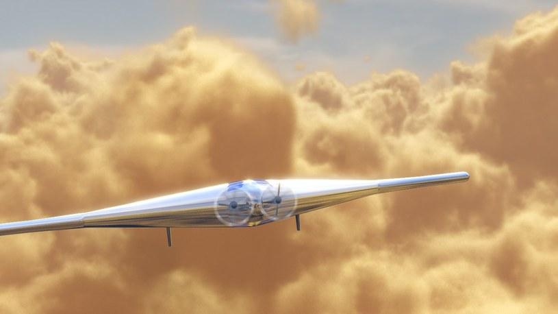 Wizualizacja drona VAMP lecącego nad wenusjańskimi chmurami. /materiały prasowe