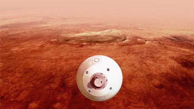 Wizualizacja lądownika nad powierzchnią Marsa /NASA/JPL-Caltech /Materiały prasowe