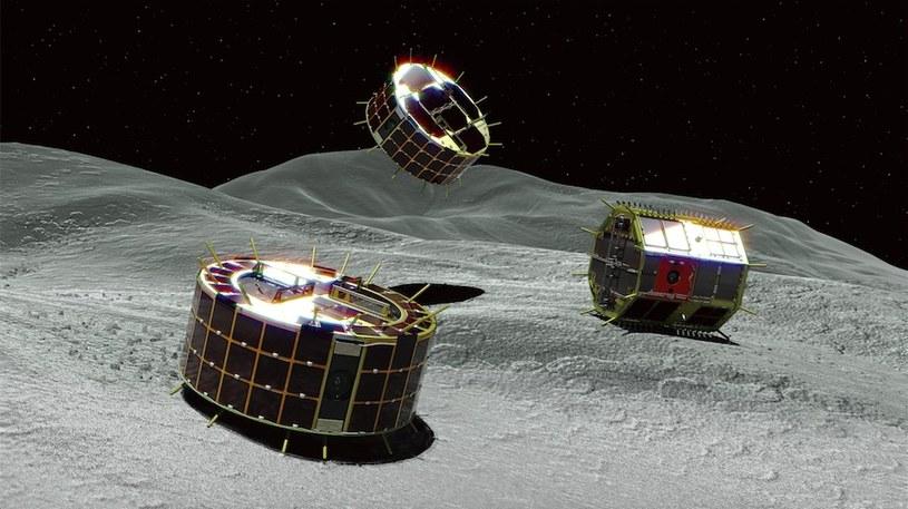 Wizualizacja łazików MINERVA-II na powierzchni Ryugu /materiały prasowe