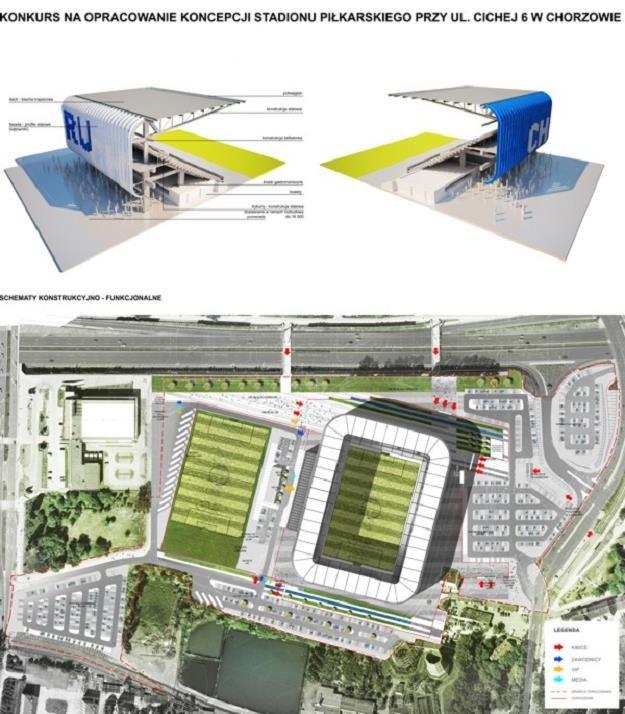 Wizualizacja nowego stadionu Ruchu w Chorzowie-Batorym /