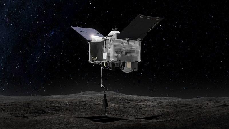Wizualizacja pobrania próbek przez sondę OSIRIS-REx /NASA