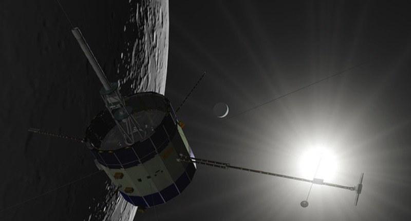Wizualizacja przelotu ISEE-3/ICE nad powierzchnią Księżyca. /materiały prasowe