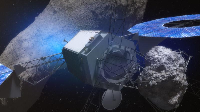 Wizualizacja sondy ARM z fragmentem asteroidy /NASA