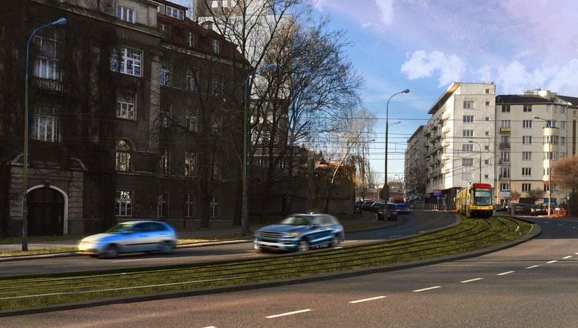 Wizualizacja tramwaju do Wilanowa. Fragment torowiska w ciągu ulicy Goworka /Miasto Stołeczne Warszawa /Archiwum