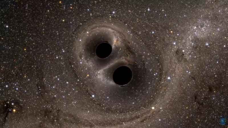 Wizualizacja zdarzenia GW150914 - łączenia się dwóch czarnych dziur /materiały prasowe