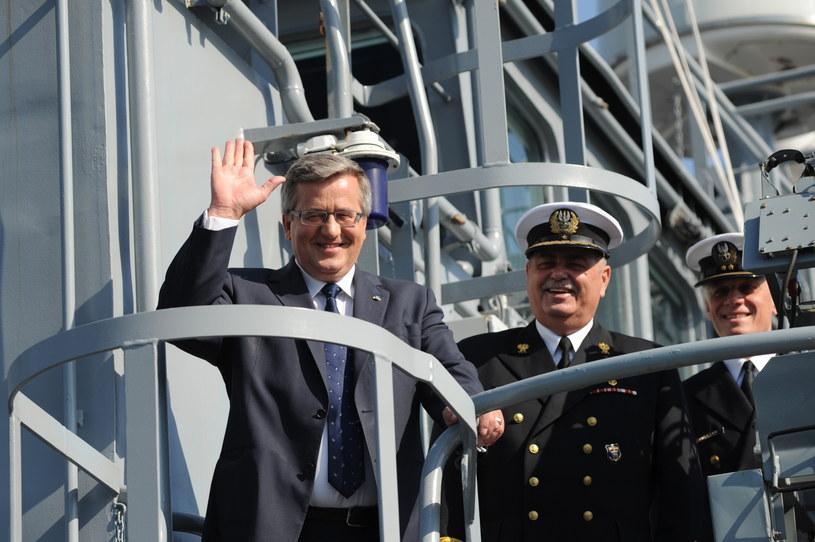 Wizyta Prezydenta RP Bronisława Komorowskiego w 8. Flotylli Obrony Wybrzeża /Marcin Bielecki /PAP