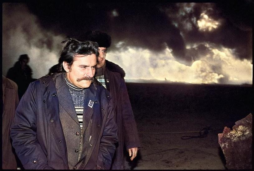 Wizytujący Karlino podczas pożaru Lech Wałęsa /Getty Images