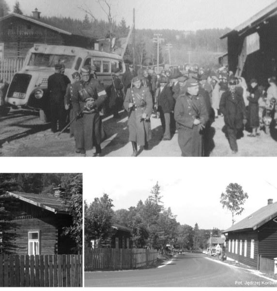 Czechosłowaccy żołnierze i polski autobus w Jaworzynie Spiskiej (Tatranská Javorina), zdjęcie często błędnie podpisywane jako Jurgów/Podspady