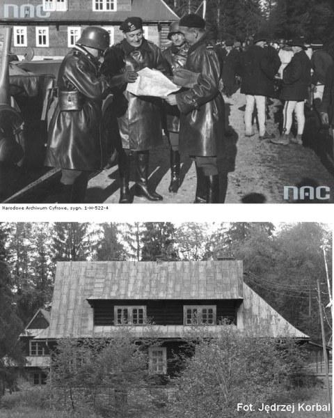 Płk. Maczek, ppłk, dypl. Skibiński oraz mjr Dworak na przejściu granicznym w Podspadach. Budynek istnieje do dziś