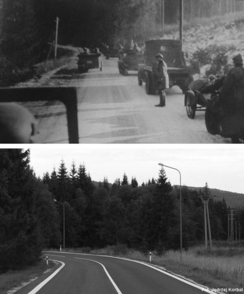 24 Pułk Ułanów na Przełęczy Zdziarskiej. Na pierwszym zdjęciu, w tle stoki Wołoszyna