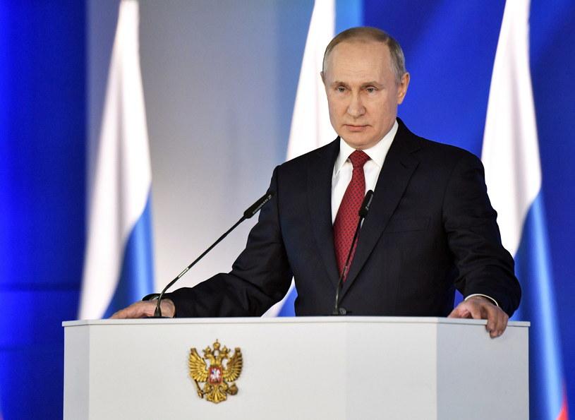 Władimir Putin podczas przemówienia /ALEXEY NIKOLSKY/SPUTNIK  /PAP/EPA