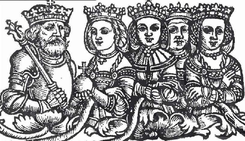 Władysław Jagiełło i jego żony. Jako pierwszą od lewej widać Jadwigę – przedstawioną schematycznie, w renesansowej sukni (domena publiczna) /Ciekawostki Historyczne