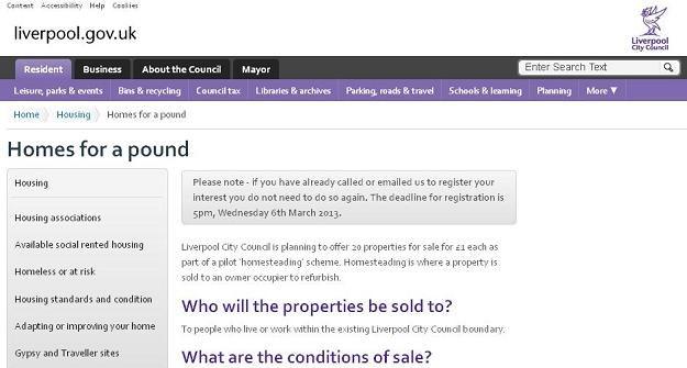 Władze Liverpoolu sprzedają domy za funta /