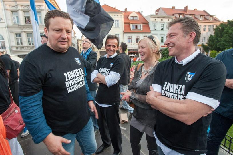 Właściciel Zawiszy Radosław Osuch (z lewej) i trener Ryszard Tarasiewicz /Fot. Tytus Żmijewski /PAP