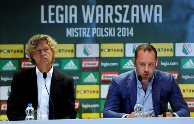 Właściciele Legii Warszawa Dariusz Mioduski (z lewej) i prezes Bogusław Leśnodorski /Bartłomiej Zborowski /PAP