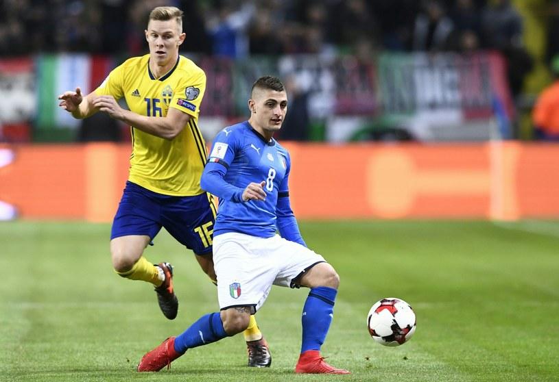 Włoch Marco Verratti (z prawej) i Szwed Emil Krafth /AFP