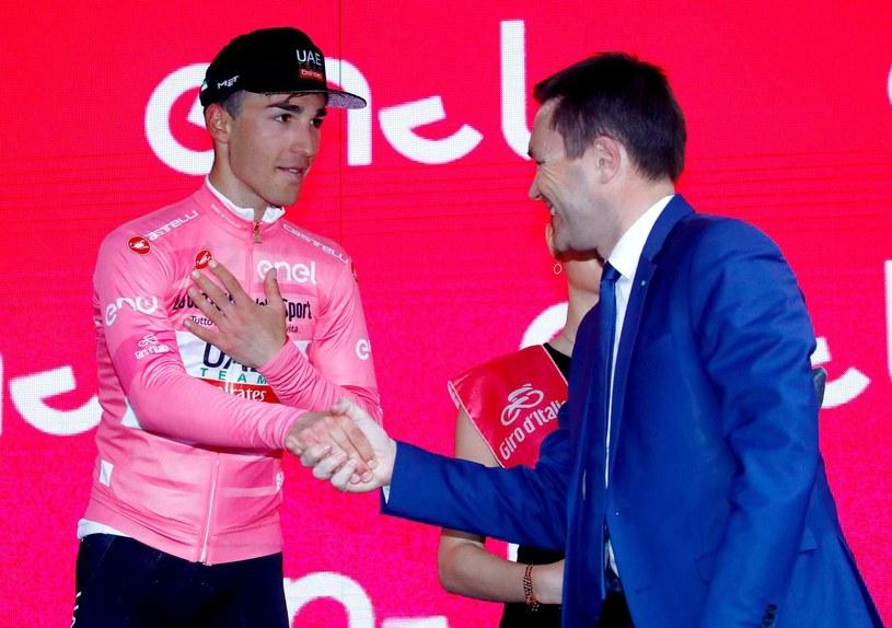 Włoski kolarz Valerio Conti i prezydent UCI David Lappartient /AFP