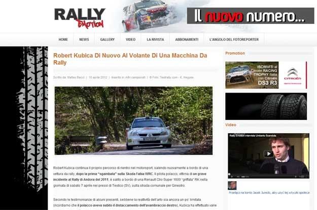 Włoskie media piszą o testach Kubicy... /