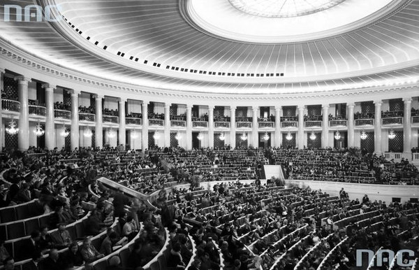 Widownia w Sali Kongresowej. Widok ogólny. Zdjęcie z 1961 roku