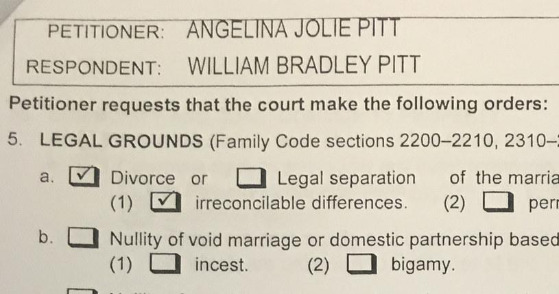 Wniosek Angeliny Jolie o rozwód /Agencja FORUM