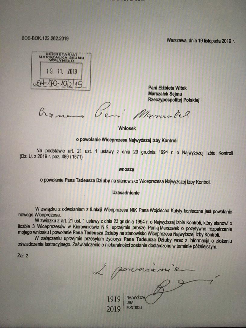 Wniosek o powołanie wiceprezesa NIK /Jakub Szczepański /INTERIA.PL