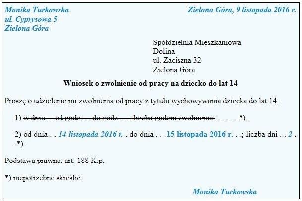 Wniosek o zwolnienie od pracy na dziecko do lat 14 /Gazeta Podatkowa