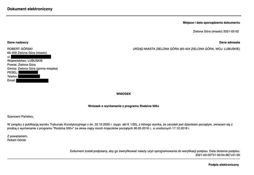Wniosek Roberta Górskiego /archiwum prywatne