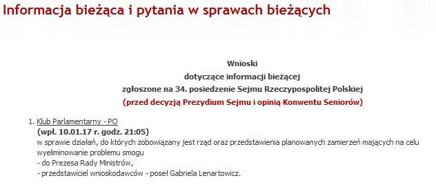 Wnioski dotyczące informacji bieżącej zgłoszone na 34. posiedzenie Sejmu /sejm.gov.pl /
