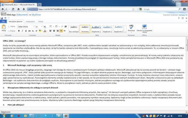 Word Web App pozwala na edycję dokumentów w miejscach, gdzie nie ma dostępu do tradycyjnego Office'a /INTERIA.PL
