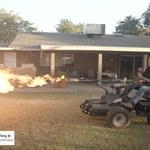 Wózek inwalidzki wyposażony w miotacz ognia