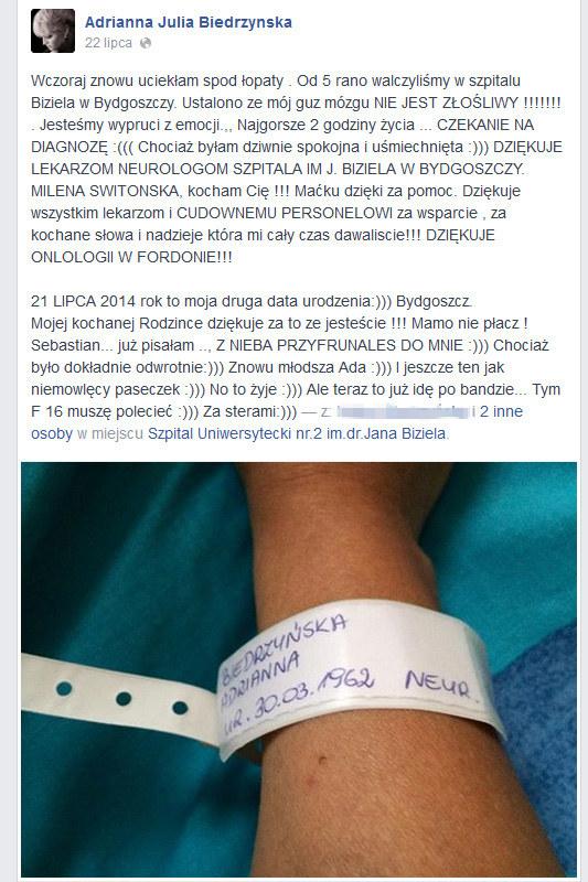 Wpis Adrianny Biedrzyńskiej na Facebooku /Facebook /materiały prasowe