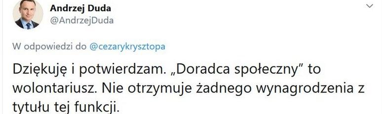 Wpis Andrzeja Dudy na Twitterze /Twitter /materiał zewnętrzny