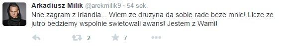 Wpis Arkadiusz Milika (Źródło: Twitter) /INTERIA.PL