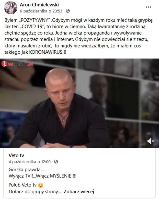 Wpis Arona Chmielewskiego na portalu społecznościowym /Aron Chmielewski/Facebook /