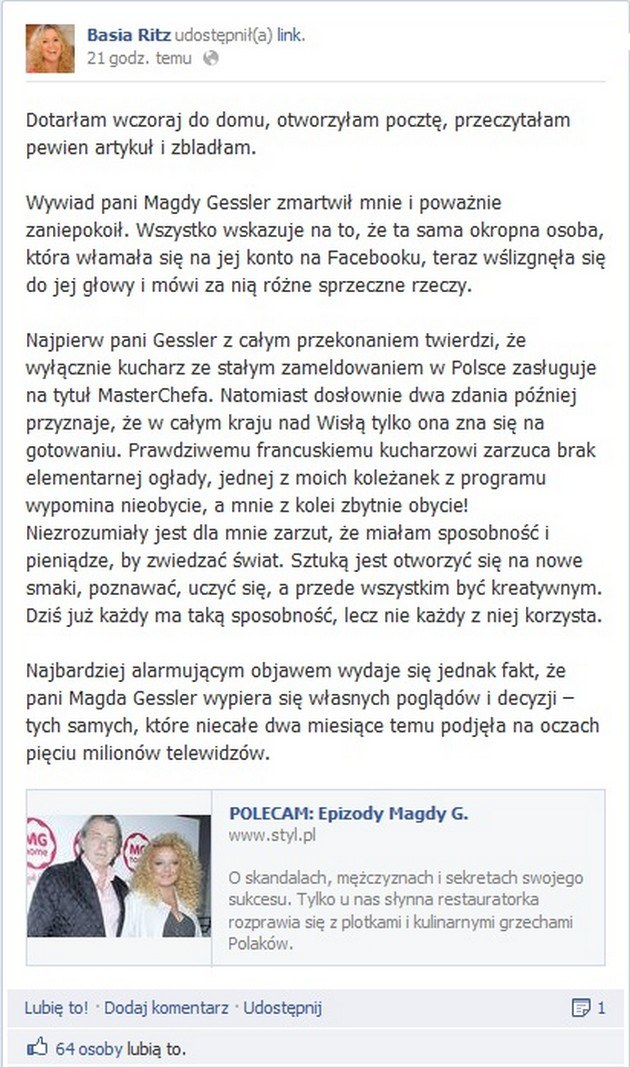 Wpis Basi na Facebooku /- /pomponik.pl