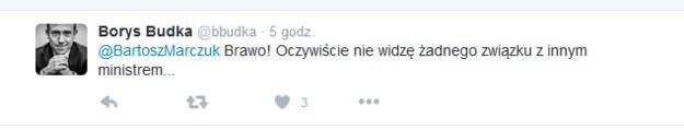 Wpis Borysa Budki /Twitter