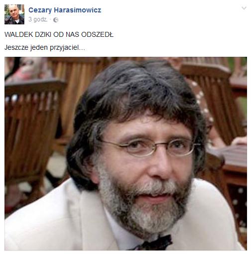 Wpis Cezarego Harasimowicza na Facebooku /Facebook