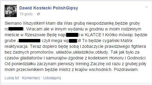 Wpis Dawida Kosteckiego na Facebooku /INTERIA.PL