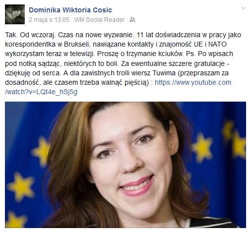 Wpis Dominiki Ćosić na jej oficjlanym profilu /Facebook