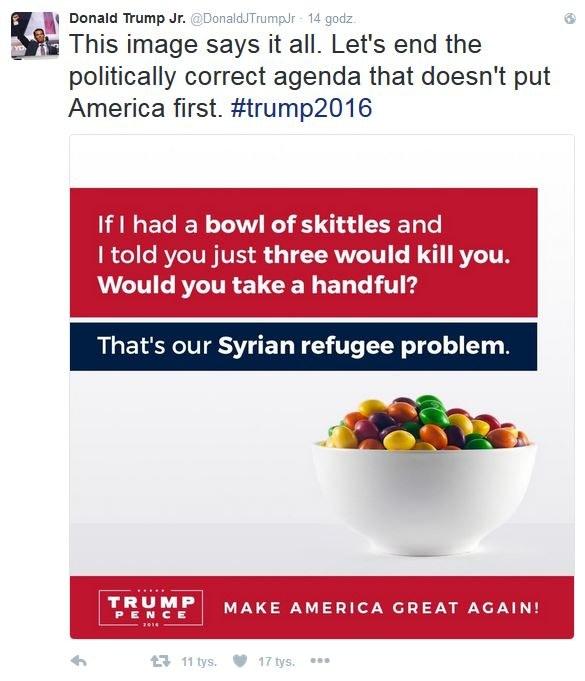 Wpis Donalda Trumpa Juniora /@DonaldJTrumpJr /Twitter