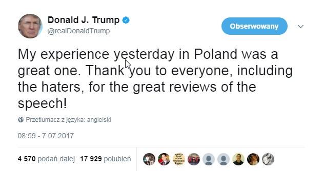 Wpis Donalda Trumpa na Twitterze /Twitter