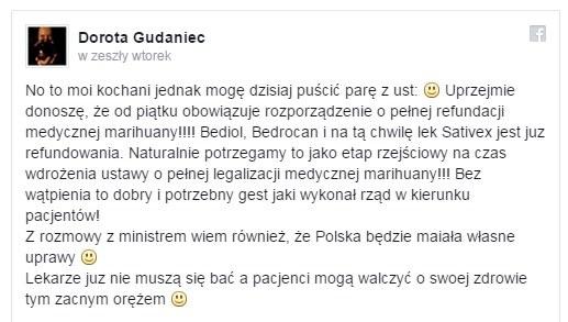 Wpis Doroty Gudaniec na Facebooku /