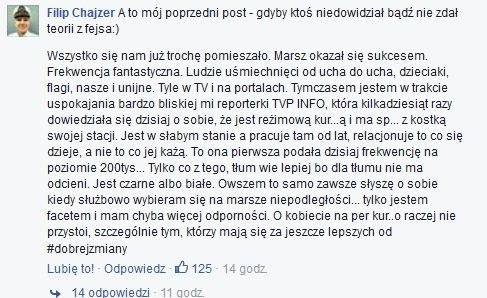 Wpis Filipa Chajzera na Facebooku /